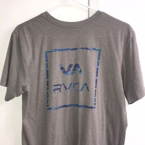 Men's RVCA Medium Grey and Blue Ocean Logo T-Shirt